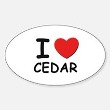 I love cedar Oval Decal