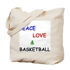 Peace Love and Basketball Tote Bag