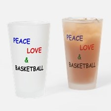 Peace Love and Basketball Drinking Glass