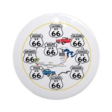 U.S. ROUTE 66 - All Routes Ornament (Round)