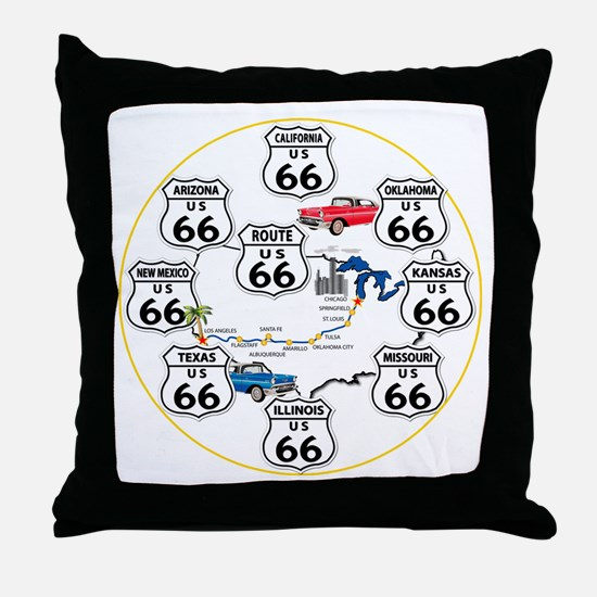 U.S. ROUTE 66 - All Routes Throw Pillow
