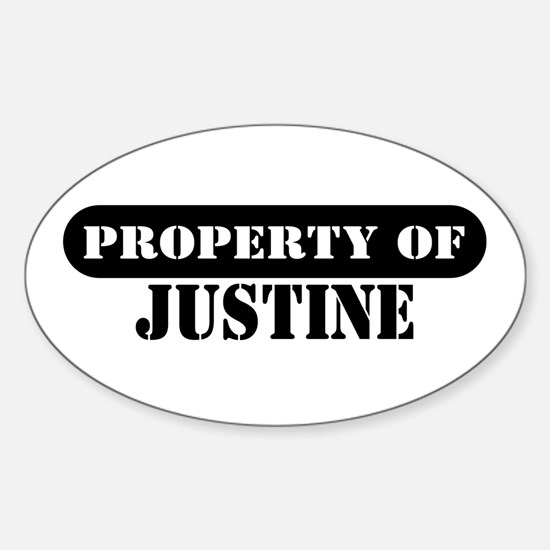Property of Justine Oval Decal