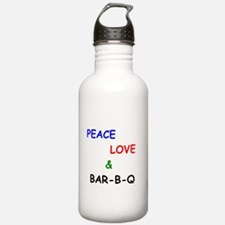Peace Love and Bar B Q Water Bottle