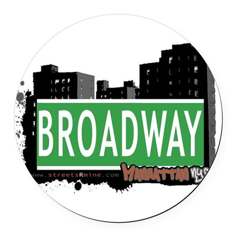 BROADWAY, MANHATTAN, NYC Round Car Magnet