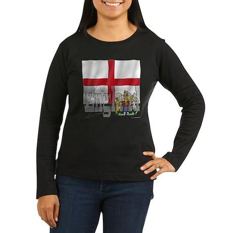 Silky Flag of England Women's Long Sleeve Dark T-S