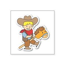Happy cowboy riding on a horse stick Sticker