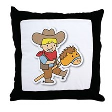 Happy cowboy riding on a horse stick Throw Pillow