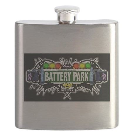 Battery Park Manhattan NYC (Black) Flask