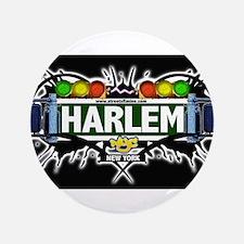 "Harlem Manhattan NYC (Black) 3.5"" Button"