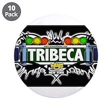 "Tribeca Manhattan NYC (Black) 3.5"" Button (10 pack"