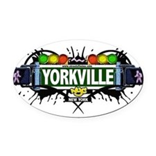 Yorkville Manhattan NYC (White) Oval Car Magnet