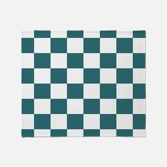 Slate blue checkerboard Throw Blanket