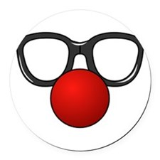 Funny Glasses with Clown Nose Round Car Magnet