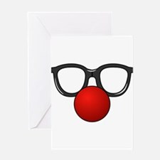 Funny Glasses with Clown Nose Greeting Card
