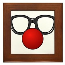 Funny Glasses with Clown Nose Framed Tile