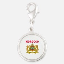 Morocco Coat Of Arms Designs Silver Round Charm