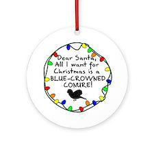 Dear Santa Blue Crowned Conure Christmas Ornament