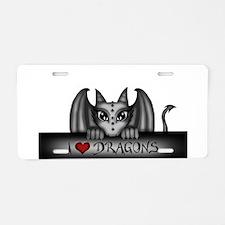 i love dragons Aluminum License Plate