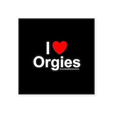 """Orgies Square Sticker 3"""" x 3"""""""