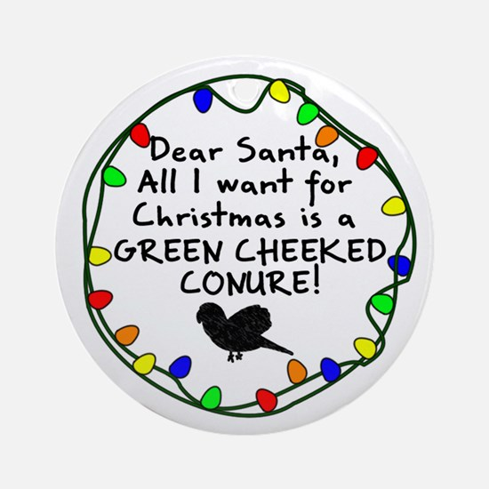 Dear Santa Green Cheeked Conure Christmas Ornament