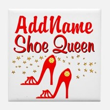 WILD RED SHOES Tile Coaster