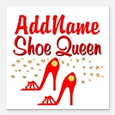 """WILD RED SHOES Square Car Magnet 3"""" x 3"""""""