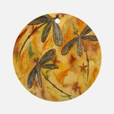 Dragonfly Flit Warm Breeze Ornament (Round)