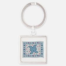 Pisces Zodiac Tapestry Design Square Keychain