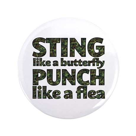 """Sting like a butterfly 3.5"""" Button"""