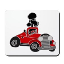 Black Poodle Driving Red Convertible Mousepad