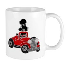 Black Poodle Driving Red Convertible Mug