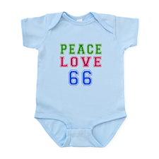 Peace Love 66 birthday designs Infant Bodysuit
