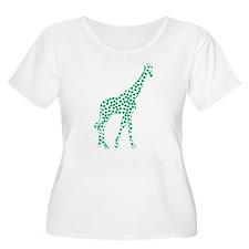 Kelly Green Polka Dot Giraffe Plus Size T-Shirt