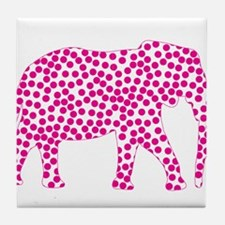 Bright Pink Polka Dot Elephant Tile Coaster