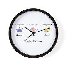 Scrapbook Queen, Diva, Chick Wall Clock