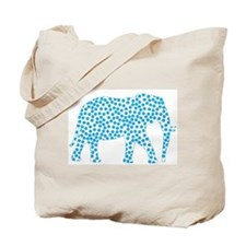 Bright Blue Polka Dot Elephant Tote Bag