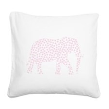 Light Pink Polka Dot Elephant Square Canvas Pillow