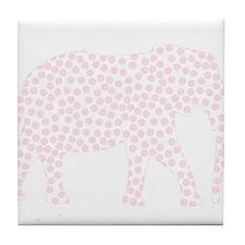 Light Pink Polka Dot Elephant Tile Coaster