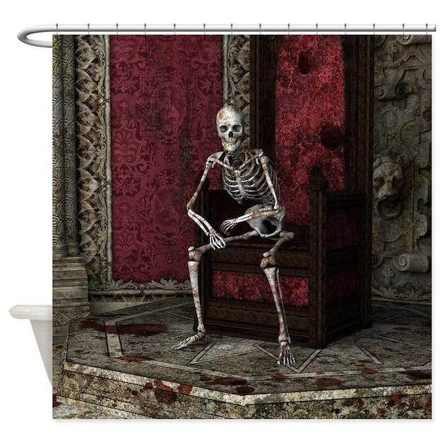 Gothic Waiting Skeleton Shower Curtain - Dark Red Shower Curtains Dark Red Fabric Shower Curtain Liner