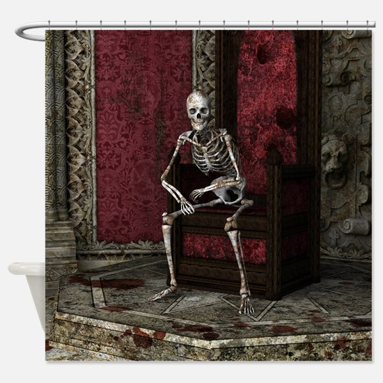 Gothic Waiting Skeleton Shower Curtain