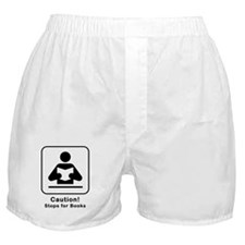 Caution Stops for Books Boxer Shorts
