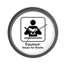 Caution Stops for Books Wall Clock