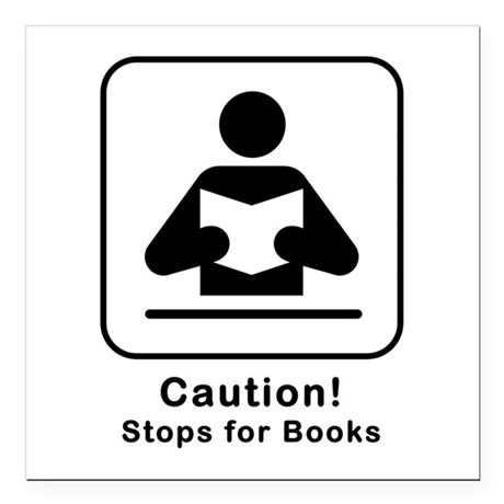 """Caution Stops for Books Square Car Magnet 3"""" x 3"""""""