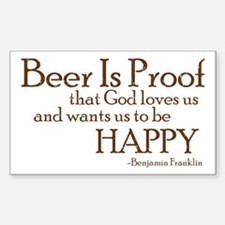 Beer Is Proof Rectangle Decal