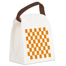 Orange and white checkerboard Canvas Lunch Bag