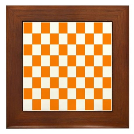 Orange And White Checkerboard Framed Tile By
