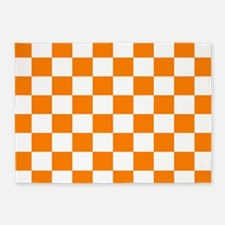 Orange and white checkerboard 5'x7'Area Rug