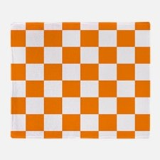 Orange and white checkerboard Throw Blanket