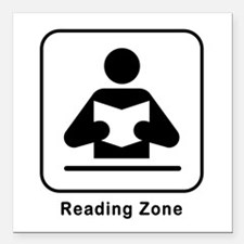 "Reading Zone Square Car Magnet 3"" x 3"""