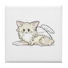 Long Cream Chihuahua Angel Tile Coaster